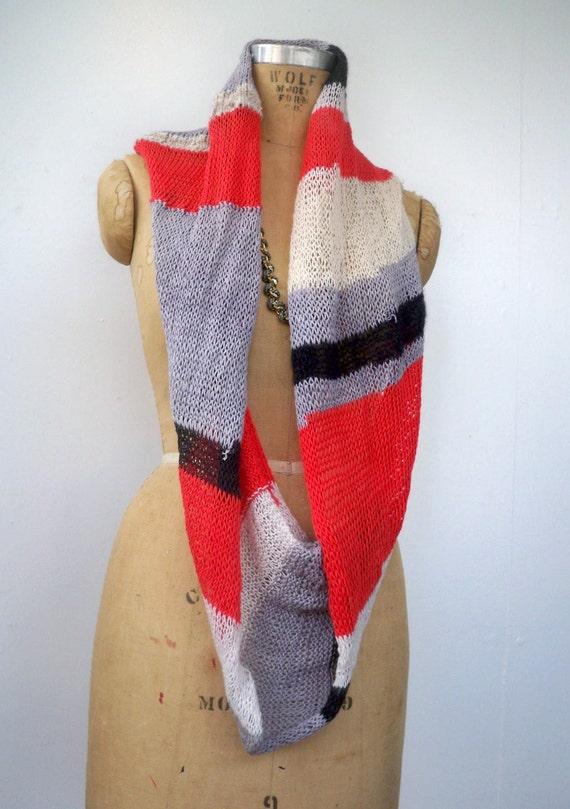 Coral Lavender Stripe Knit Infinity Scarf - Long Loop Scarf in Soft Recycled Yarns - Striped Pink Pale Pastel Purple White Grey Wool Alpaca
