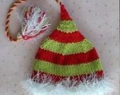 Knit Newborn ChRiStMaS HaT Baby Photo PROP Unisex Elf BeANiE Red Lime Green Stripe White Fuzzy Brim Tassel PiXiE Cap Christmas Card Pic