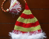 Boy Girl Newborn Baby 3 6 month HaT PHoTO PRoP Unisex ChRiStMaS Toy Maker ToQUe Red Lime Green Stripe FuZzy White Brim TaSSeL KNiT to ORDeR