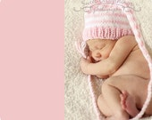 Newborn Baby Girl Hat KNiT Soft Pink White Stripe Stocking Cap BaBY PHoTO PRoP Long Tail Pixie Beanie Coming Home Elf Cal PiCK CoLOR Toque