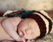 Newborn Boy HAT Baby Photo PROP Super Tassled CHUCKLES CaP Chocolate Brown Light Tan Teal Ivory Pick Colors Knit to Order Unisex Neutral