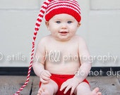 Knit Baby Outfit 0 to 6 month BaBY PHoTO ProP Stocking Hat & Diaper Cover UNiSeX Christmas Red White Stripe Beanie Set CHooSE CoLOR Boy Girl