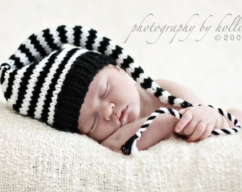 Newborn Knit Baby Hat BaBY PHoTO PRoP Black White Stripe Long Tail Stocking Hat UNiSeX MuNCHKiN BeANiE Boy Girl Coming Home Gift PiCK CoLOR