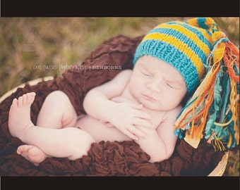 Newborn Knitted Baby Hat BaBY PHoTO PRoP Boy Girl BeANiE TaSSeL Stocking Cap Turquoise Yellow Stripe Orange CHooSE CoLORS Coming Home Toque