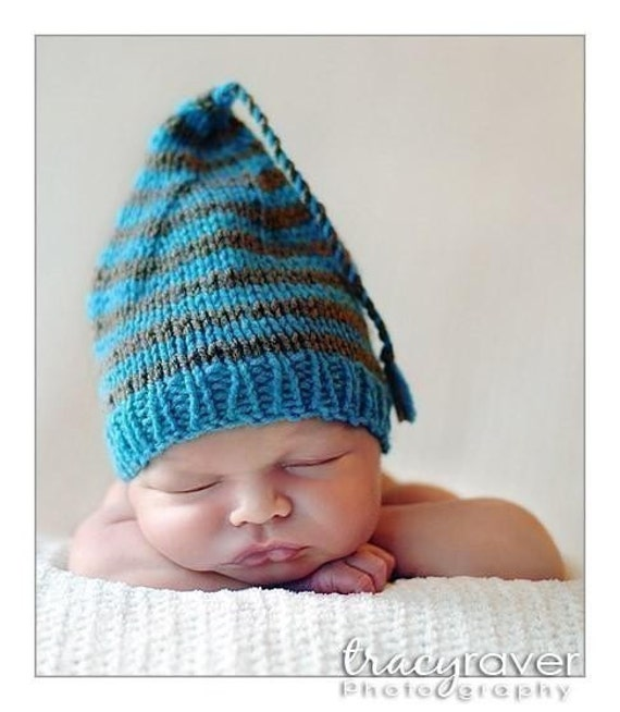 Newborn Baby Knit Hat BaBY PHoTO PRoP Pixie Hat UNiSeX BoY GiRL Turquoise Grey stripe Beanie CHooSE CoLOR Coming Home ELF Cap Shower Gift