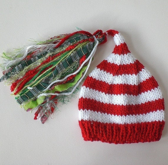 Toddler Boy Girl Hat Knit 2 Order Small Child Photo PROP SuPeR TaSSeL stripe CHUCKLES CAP Unigender Christmas Red White Green Pick Colors
