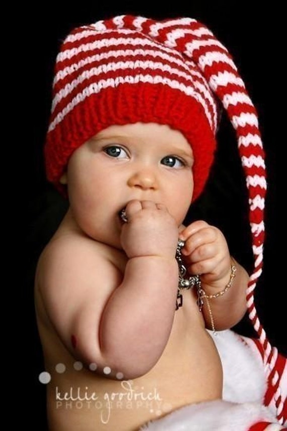6 to 12 month Baby Hat Knit PHoTO PRoP Long Stocking Cap UNiSeX BeANiE Unisex Red White Stripe MuNCHKiN Toque CHooSE CoLoR Christmas Picture