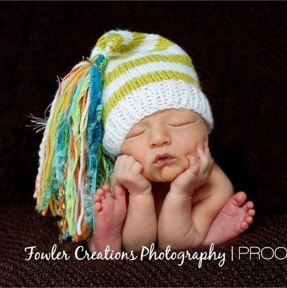Newborn Knit Baby Hat BaBY PHoTO PRoP Boy BiG TaSSeL Stocking CaP Girl Unisex White Lime Stripe Teal Orange Beanie PiCK CoLOR Chuckles Toque