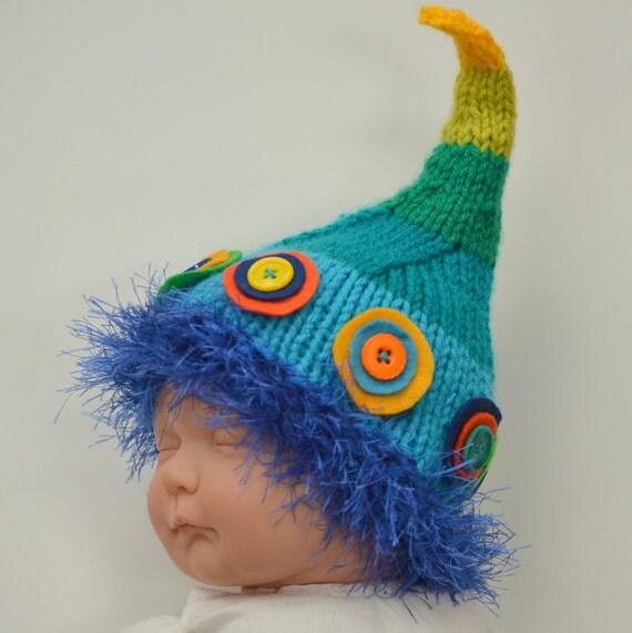 Newborn Baby Boy Hat Knit BaBY PHoTo PRoP Unique BeLLY BuTTON BeANiE Fuzzy Brim PiXiE CaP Blue Lime Yellow Orange STRiPE DoT Elf Toque Gift