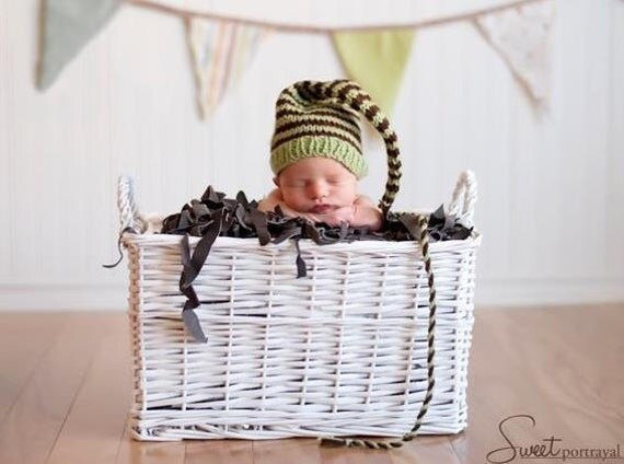 Newborn Baby Boy HAT Knit PHoTo PRoP Long Tail SToCKiNG CAP Green Chocolate Brown stripe Toque CoMiNG HoME Beanie CHooSE CoLOR Munchkin Cap