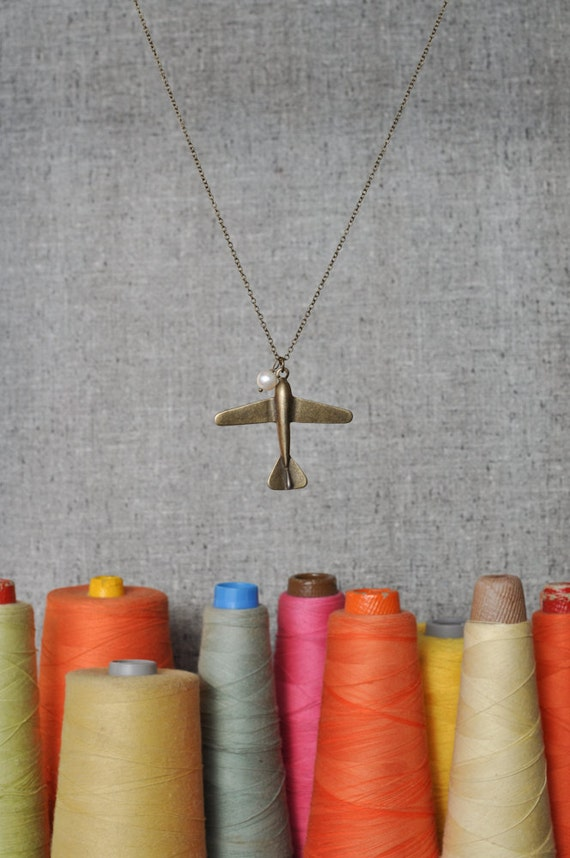 Long Airplane Necklace - Celine