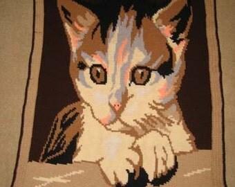 Little Kitten Hand Made Afghan - BRAND NEW