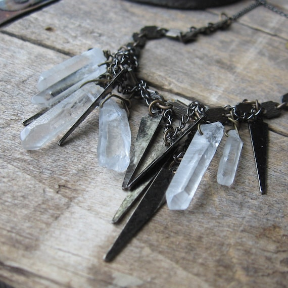raze the earth-- vintage gunmetal spikes and riock crystal prisms necklace