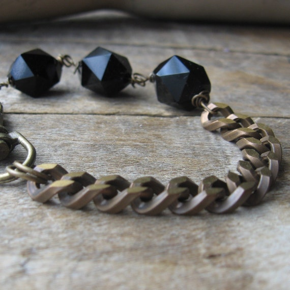 hex black hexagon onyx beads thick brass vintage chain