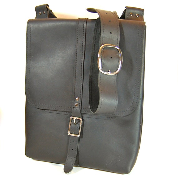 Black Salvaged Leather Field Bag