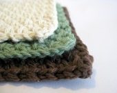 Small  Cotton Washcloths, set of 3 Backyard Garden Colors - Great for Face, Dish, or Wash cloths