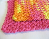 Small Cotton Wash Cloths, set of 2 - Bright Hot