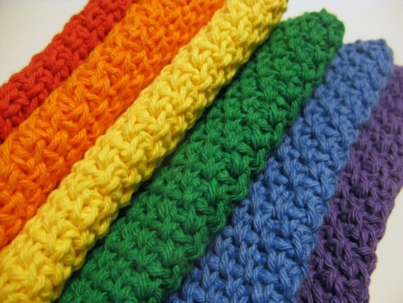 Crocheted Cotton Dish Cloths in Rainbow Colors,  Set of 6