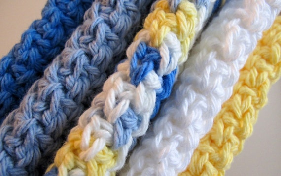 Crocheted Cotton Dish Cloths in Sunny Skies Colors, set of 5