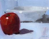 Original Painting 5x7 Still Life Apple Fruit Bowl Acrylic Quick Study - Apple with White Bowl by David Lloyd