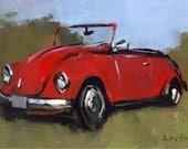 Art Print Retro VW Bug Car - VW BUG Red by David Lloyd