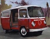 Art Print Car VW Bus Red Hippie Van 5x7 on 8x10 - VW BUS Cherry by David Lloyd - lloydgallery