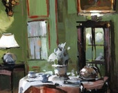 Art Print Green French Dining - Set Table in a Green Paneled Room by David Lloyd