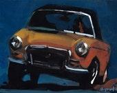 Art Print Car Seventies 70's Yellow - Yellow MG by David Lloyd