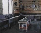 Art Print Interior Kitchen Green Gray 9x12 on 11x14 - Kitchen by David Lloyd