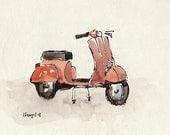 Art Print Vespa Retro Orange Geekery - Orange Vespa by David Lloyd