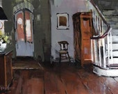 Art Print Living Room Interior Foyer Green - Foyer and Staircase by David Lloyd