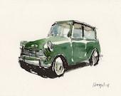 Art Print Car Painting Mini Cooper Retro Green Geekery - Green Mini by David Lloyd