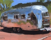 Art Print Painting Retro Airstream Desert Auto Camping Outdoors - Airstream at Palo Duro by David Lloyd
