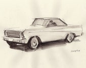 "Original Retro Car Art Ford Falcon Sketch 8x10 Line and Wash Monochrome ""Ford Falcon""  by David Lloyd"