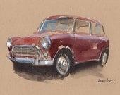 Art Print Car Painting Mini Cooper Retro Red Geekery - Red Mini by David Lloyd