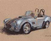 Art Print Car Painting Cobra Retro Silver - Cobra by David Lloyd