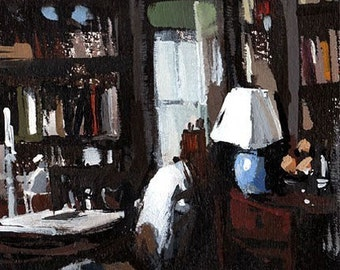 Art Print Library Books Study Interior Dark - Dark Study by David Lloyd