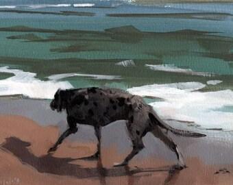 Dog Art Print Great Dane Pet Beach Ocean - Great Dane by David Lloyd