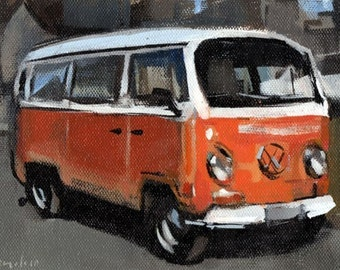 Original Painting Vw Thing Vintage Auto Watercolor By