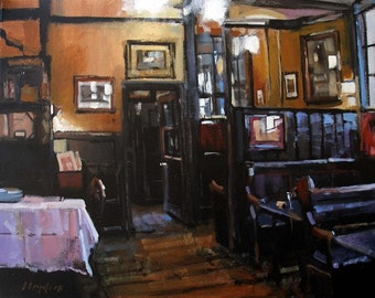Art Print Pub English Drink Dining Orange 9x12 on 11x14 - The Pub by David Lloyd