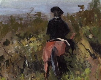 Art Print Horse Rider Country Landscape 9x12 on 11x14 - Through Heavy Brush by David Lloyd