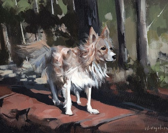 Art Print Dog Pet Animal 9x12 on 11x14 - Scout by David Lloyd