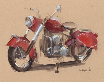 Art Print Motorcycle Painting Indian Retro Travel Americana - Indian by David Lloyd