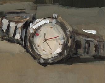 Art Print Watch Men Masculine Timepiece 5x5 on 8x10 - Swiss Army by David Lloyd