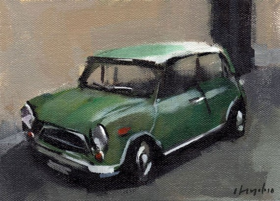 Art Print Car Mini Morris British Green - Green Morris Mini by David Lloyd