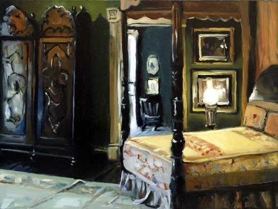Art Print South Southern Bedroom Antique 9x12 on 11x14 - Southern Bedroom by David Lloyd