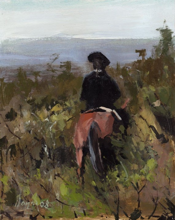 Art Print Horse Rider Country Landscape 9x12 on 11x14 - Through Heavy Brush by David Lloyd