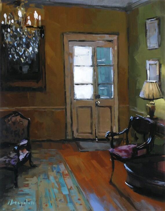 art print interior orange blue antique 9x12 on by lloydgallery. Black Bedroom Furniture Sets. Home Design Ideas