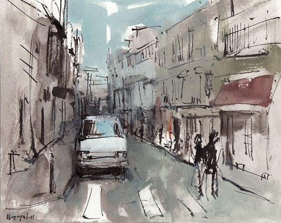 Original Painting Modern Urban City People Sketch 8x10 Line and Wash - Corner by David Lloyd