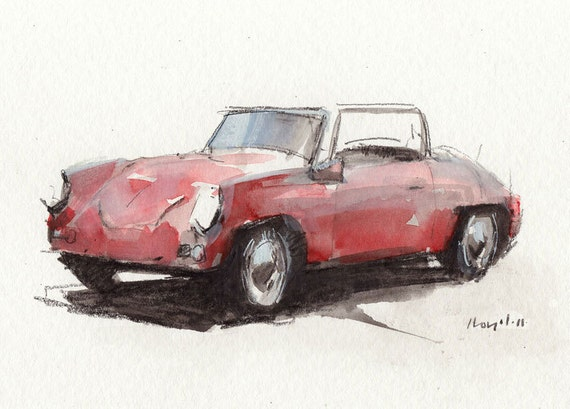 Original Sketch 5x7  - Line and Wash Porsche Roadster by David Lloyd